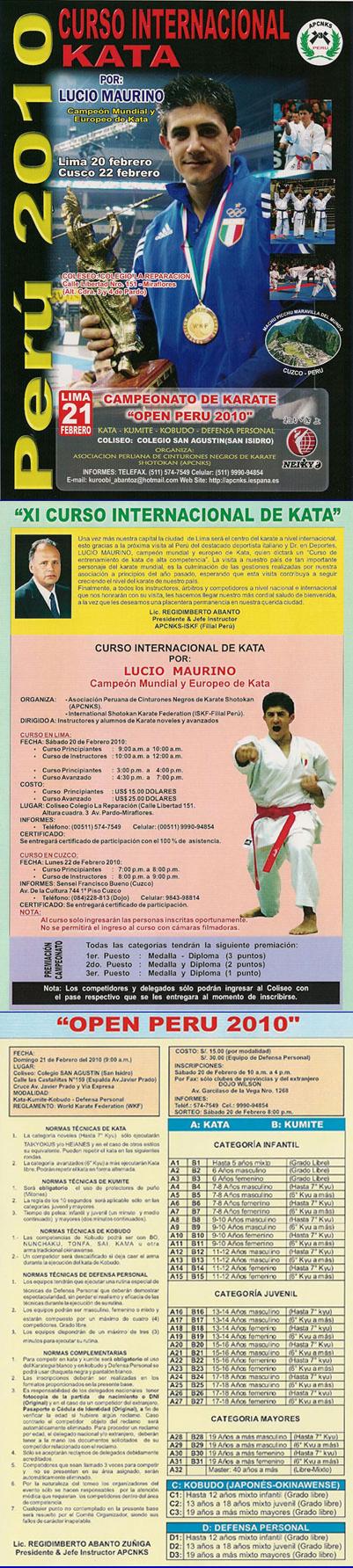 CURSO INTERNACIONAL DE KATA Y CAMPEONATO DE KARATE OPEN PERU 2010